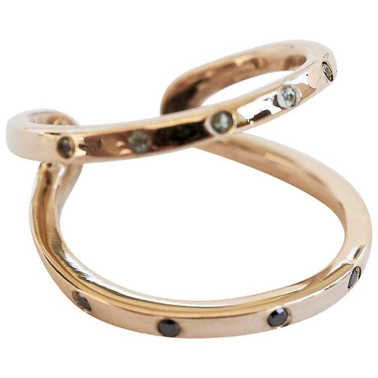 Black Diamond Green Sapphire Ring Cocktail Ring Bronze Onesie J Dauphin For Sale