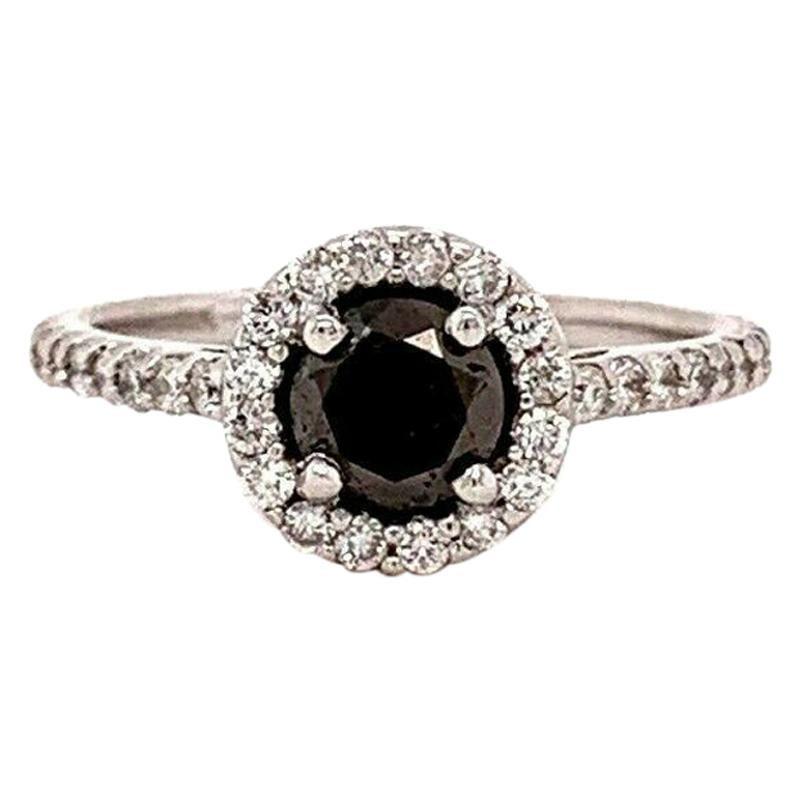 Black Diamond Halo Engagement Ring 1.32 Carat 14 Karat White Gold