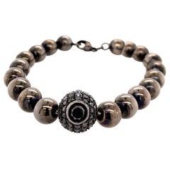 Black Diamond Hematite Beaded Bracelet in Silver