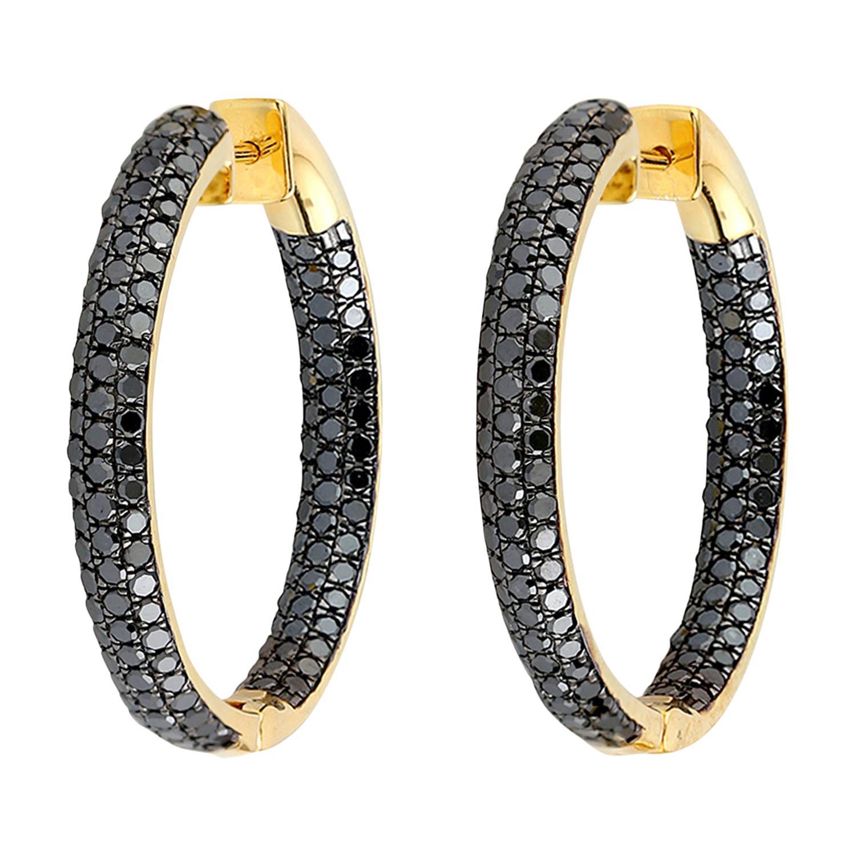 Black Diamond Inside Out Hoop Earrings