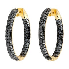 Black Diamond Inside Out Hoop Earrings
