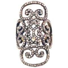 Black Diamond Lace Ring 1.50 Carat Cognac Diamonds, Wide Ring Rhodium Sterling