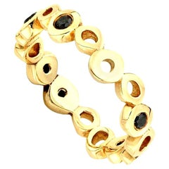 Black Diamond Layering 0.30 Carat 14 Karat Yellow Gold Ring Band