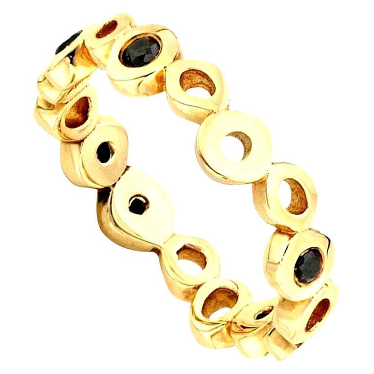 Hi June Parker 14 Karat Gold Ring Band with Black Diamond 0.30 Carat