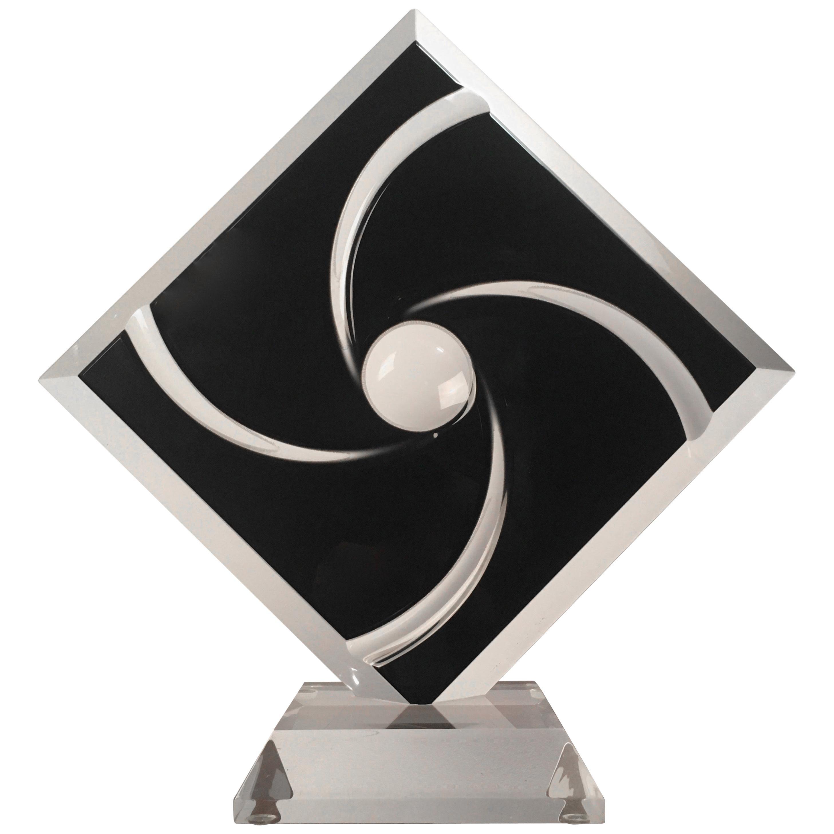 Black Diamond Lucite Sculpture by Shlomi Haziza