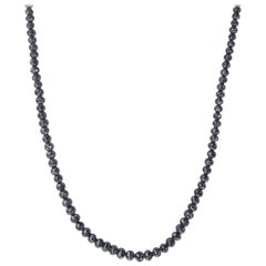 Black Diamond Necklace with White Gold Clasp