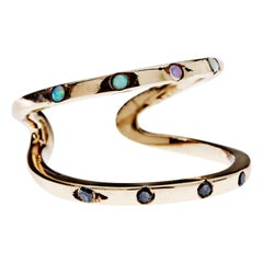 Black Diamond Opal Two-Band Love Ring Open Adjustable Bronze J Dauphin