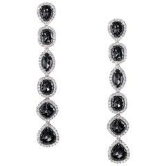Black Diamond Pavé Dangling Earrings
