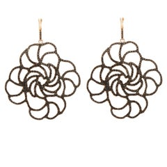 Black Diamond Pavé Lace Flower Earrings