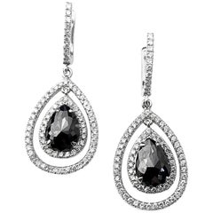 Black Diamond Pear Cut Drop Halo Earrings with White Diamond Detail