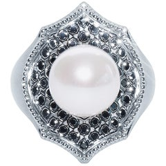 Black Diamond Pearl 18 Karat White Gold Mauresque Cocktail Ring Natalie Barney