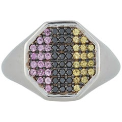 Black Diamond Pink Yellow Sapphire Pave Men's Gents Unisex Row Ring Band 14k