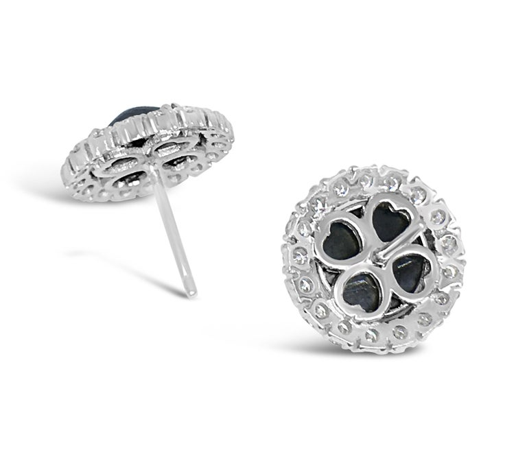 Modern Black Diamond Rose Cut 18 Karat White Gold Halo Stud Earrings For Sale