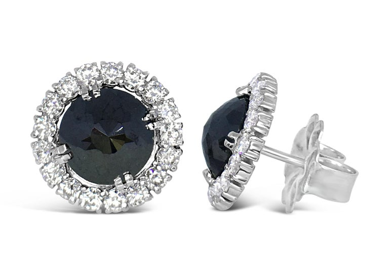 Black Diamond Rose Cut 18 Karat White Gold Halo Stud Earrings In New Condition For Sale In Aspen, CO
