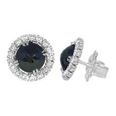 Black Diamond Rose Cut 18 Karat White Gold Halo Stud Earrings