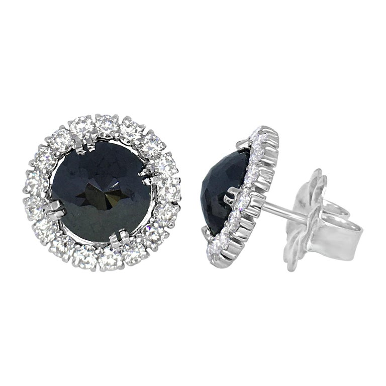 Black Diamond Rose Cut 18 Karat White Gold Halo Stud Earrings For Sale