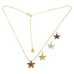 Black Diamond Sea Star Pendant and Movable Tie Chain 18 Karat Rose Gold