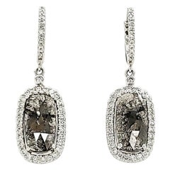 Black Diamond Slice and White Diamond Earrings