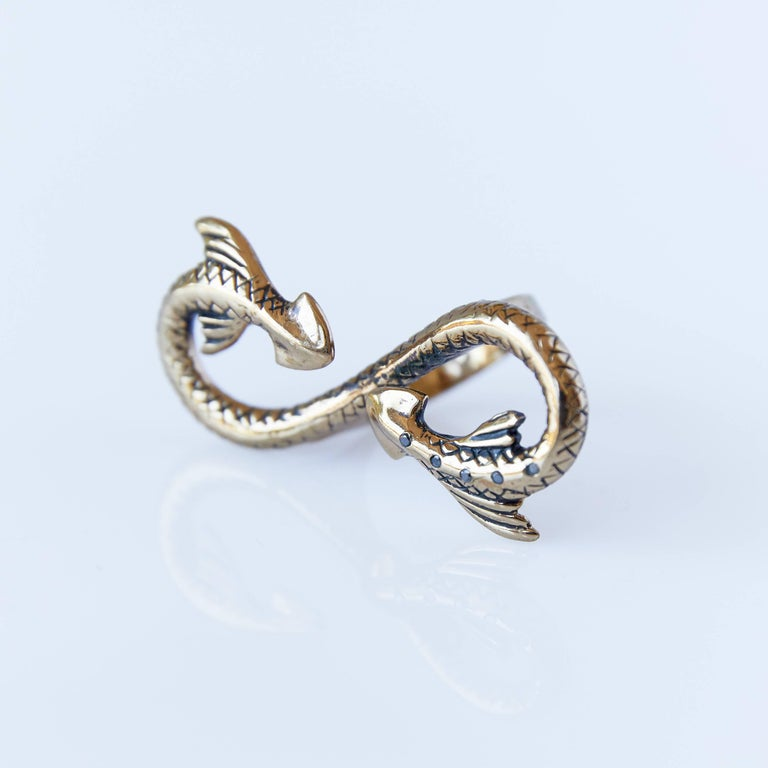 Contemporary Black Diamond Snake Ring Statement Bronze Fantasy J Dauphin For Sale