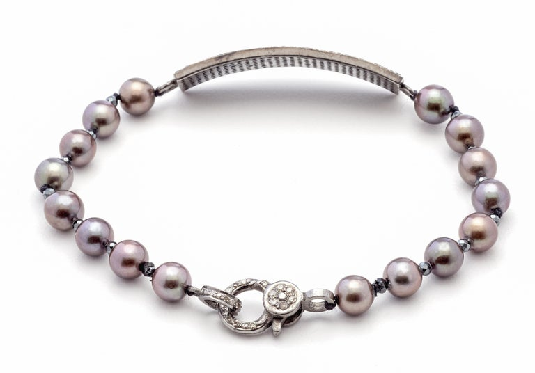 Black Diamond & Sterling Silver with rich Copper Gray Color Akoya Pearls make this new Susan VanGilder Bracelet a