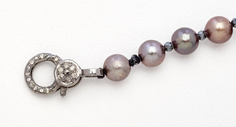 Artisan Black Diamond & Sterling Silver Bracelet with Copper Gray Color Akoya Pearls  For Sale