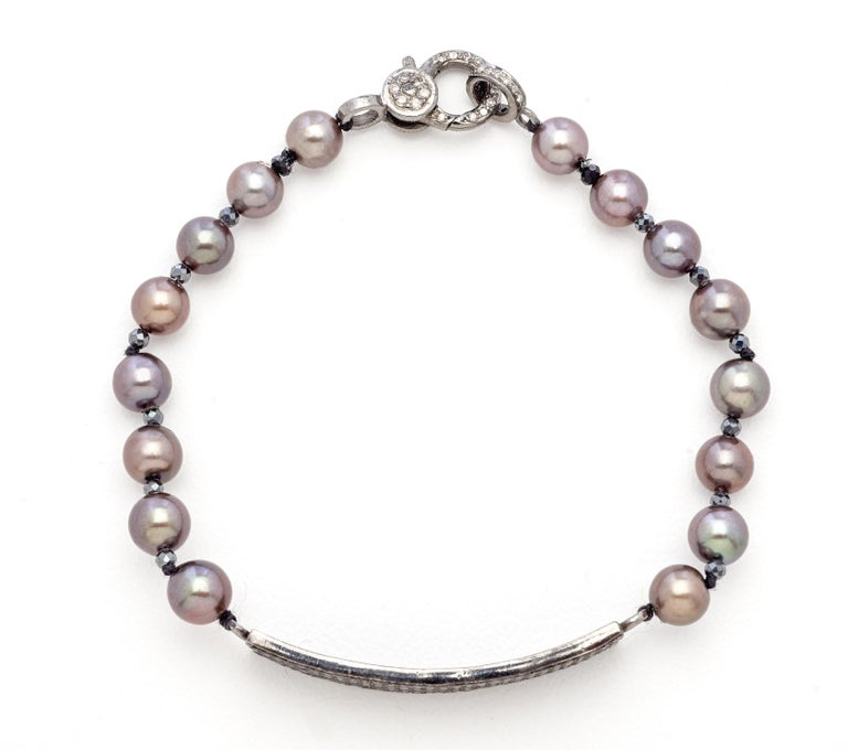 Black Diamond & Sterling Silver Bracelet with Copper Gray Color Akoya Pearls  In New Condition For Sale In Mount Kisco, NY