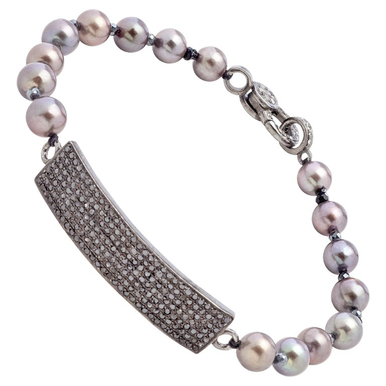 Black Diamond & Sterling Silver Bracelet with Copper Gray Color Akoya Pearls  For Sale