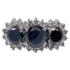 Black Diamond Three-Stone Engagement Ring 5.65 Carat in 14 Karat White Gold