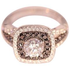 Black Diamond White Diamond Cocktail Engagement Right Hand Ring CZ Center