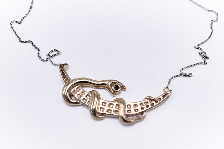 Black Diamond White Diamond Moon Snake Necklace  J DAUPHIN