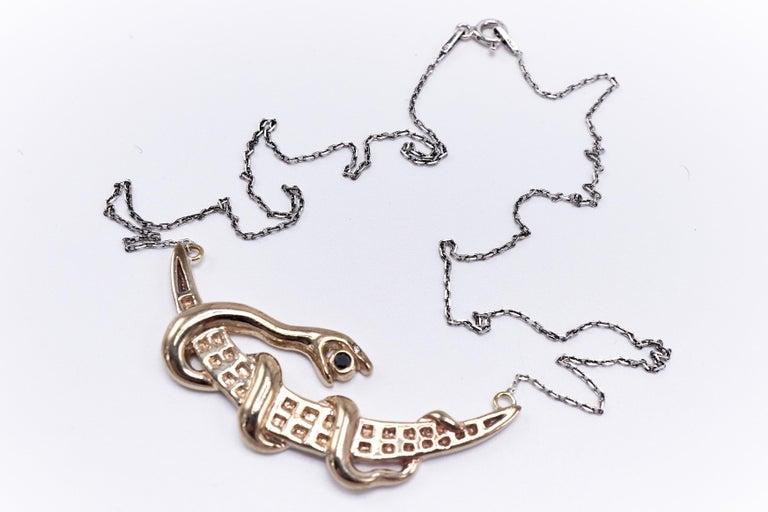 Contemporary Black Diamond White Diamond Moon Snake Necklace For Sale