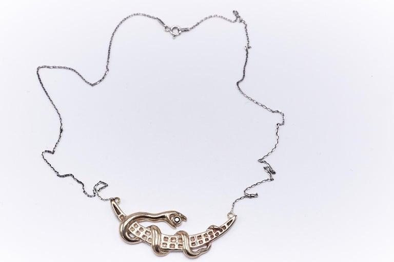 Women's Black Diamond White Diamond Moon Snake Necklace For Sale