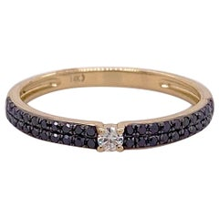 Black Diamond White Diamond Ring 14 Karat Gold Ring, Half Eternity Band, Black