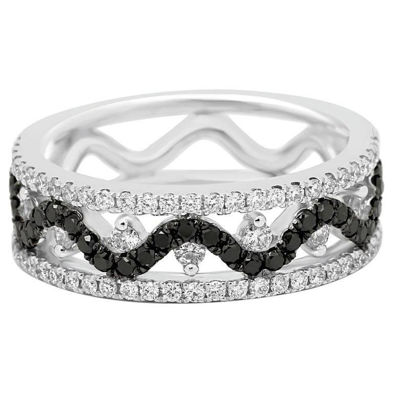 Black Diamond White Diamond Three-Row Gold Fashion Cocktail Band Ring For Sale