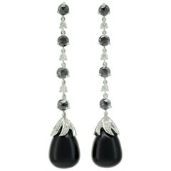 Black Diamonds White Diamonds Onyx 18 KT White Gold Long  Made in Italy Earrings