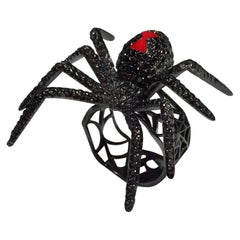 Black Diamond White Gold Cocktail Ring, the Black Widow Spider Ring