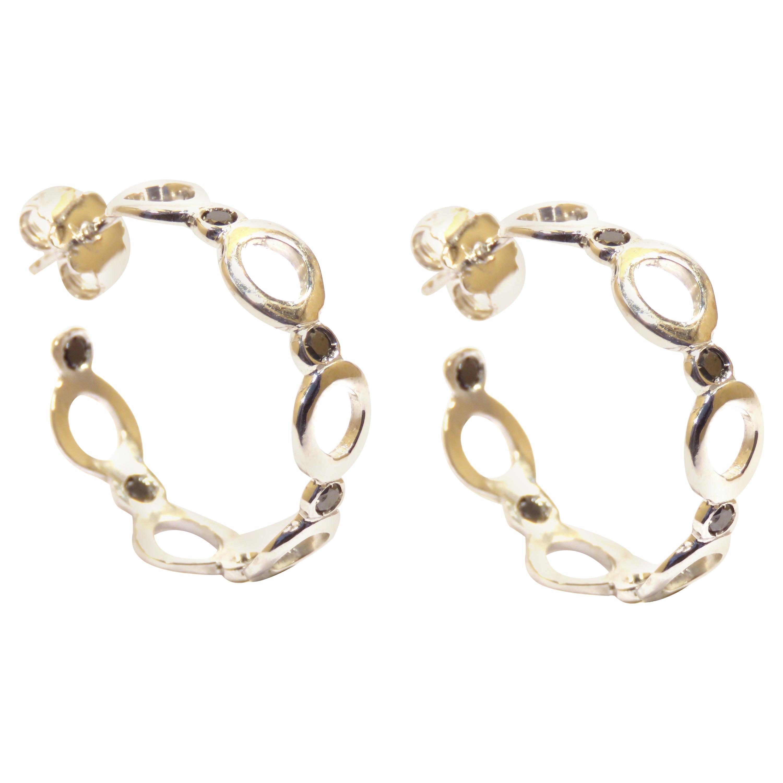 Black Diamonds 18 Karat Gold Earrings Handcrafted in Italy by Botta Gioielli