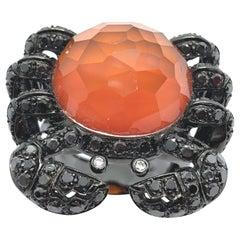 Black Diamonds and 17.85 Carat Orange Cornelian White Gold Crab Cocktail Ring