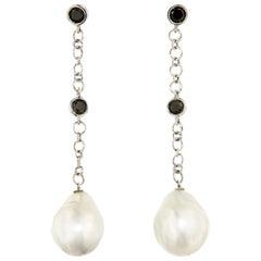 Black Diamonds Australian Pearls White 18 Karat Gold Earrings Handcraft in Italy