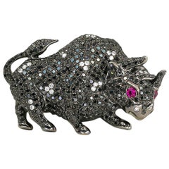 Black Diamonds Bull Pendant 2.94cts with White Diamonds 0.19cts & Pink Sapphires
