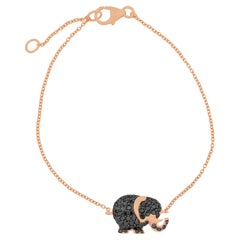 Black Diamonds Elephant and 18k Rose Gold Bracelet