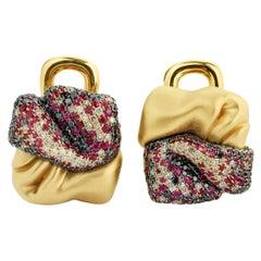 Black Diamonds Ruby Champagne Diamonds 18 Karat Yellow Gold Earrings