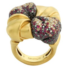 Black Diamonds Ruby Champagne Diamonds 18 Karat Yellow Gold Ring
