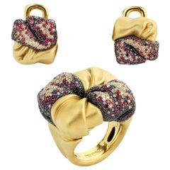 Black Diamonds Ruby Champagne Diamonds 18 Karat Yellow Gold Suite