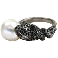 Black Diamonds Snake Ring 1.26cts with Pearl & White Diamond Eyes 0.05cts 18K
