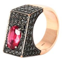 Black Diamonds Spinel 18 Karat Rose Gold Ring