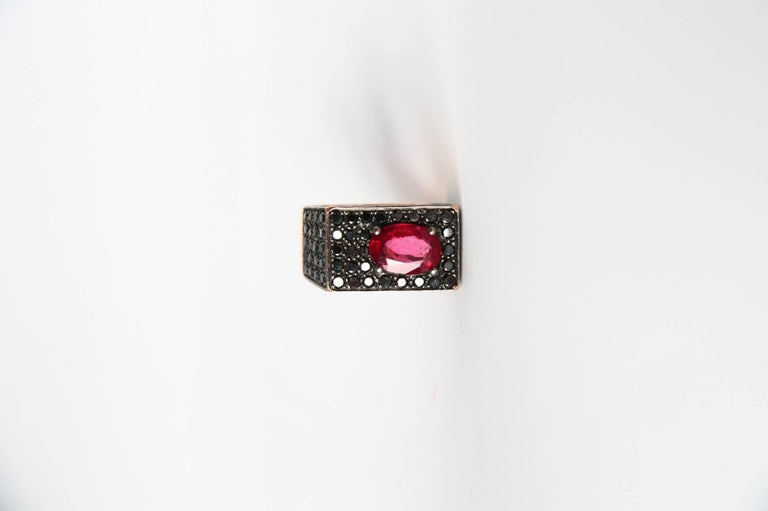 Fantastico assimetric ring with spinel  black diamond rose gold. size 12eu , gr 3,80 k gold, 2kt  red spinel black diamonds. All Giulia Colussi jewelry is new and has never been previously owned or worn. Each item will arrive at your door