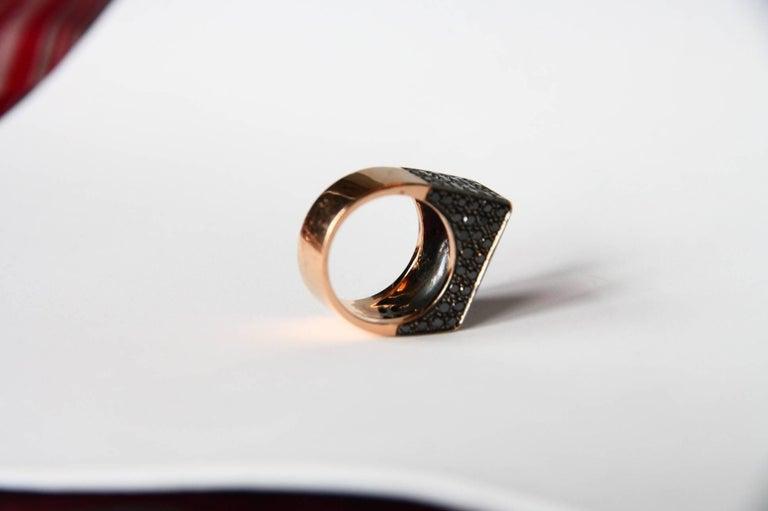 Black Diamonds Spinel 18 Karat Rose Gold Ring For Sale 2