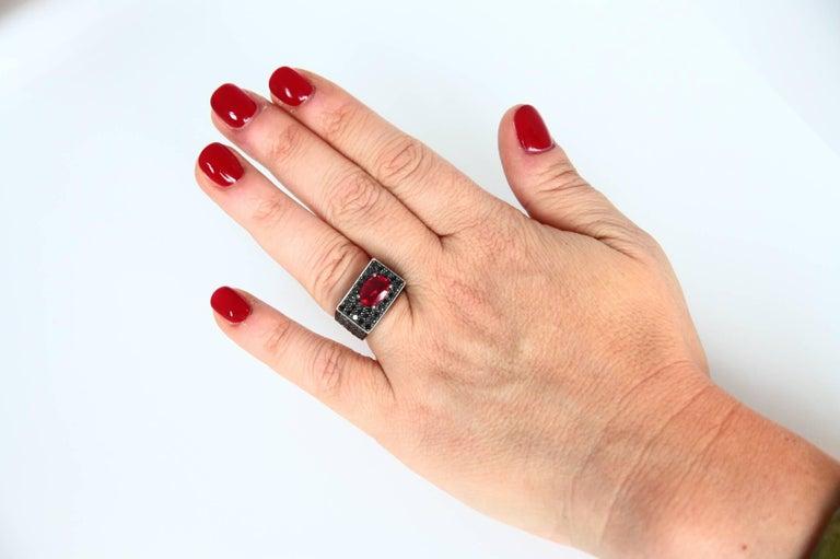 Black Diamonds Spinel 18 Karat Rose Gold Ring For Sale 4