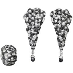 Black Diamonds, White Diamonds, Earrings and Cocktail Ring Suite